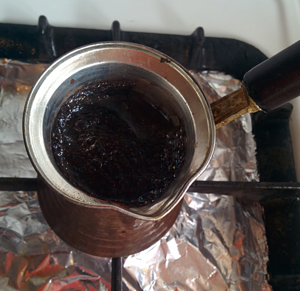 Turkish coffee pot on stove