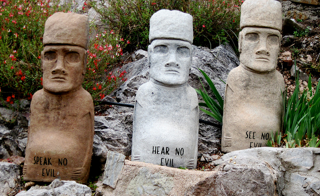 statues- hear not evil, see no evil, hear no evil