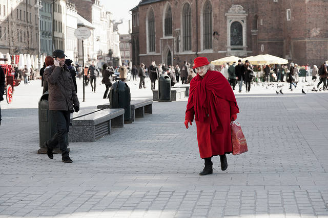 old lady in red coat