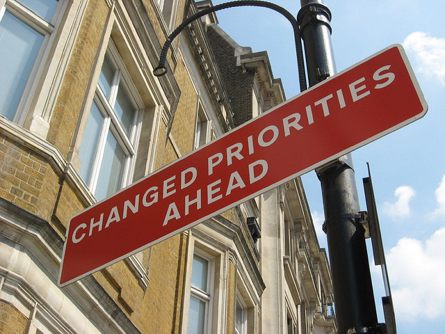 Change in priorities sign