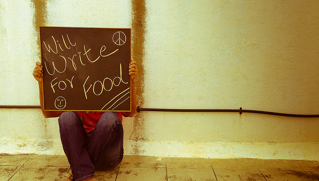 'Will write for food' sign