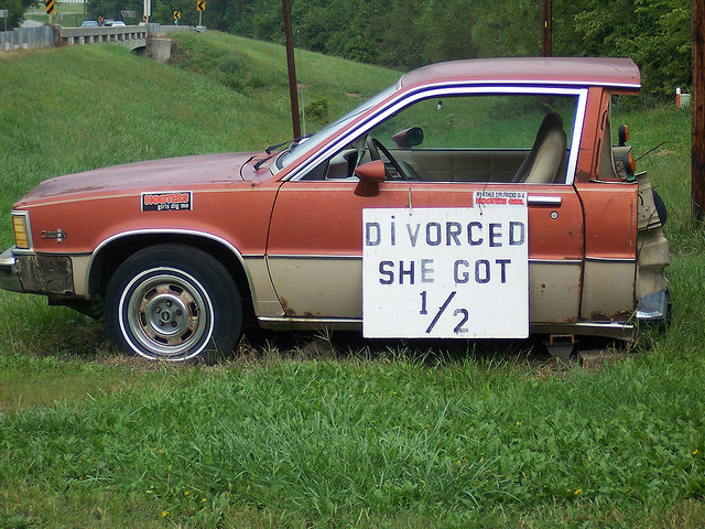 Car with Divorce sign