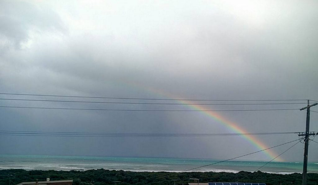 A rainbow over Ocean Grove, where I recently attended a writer's retreat.