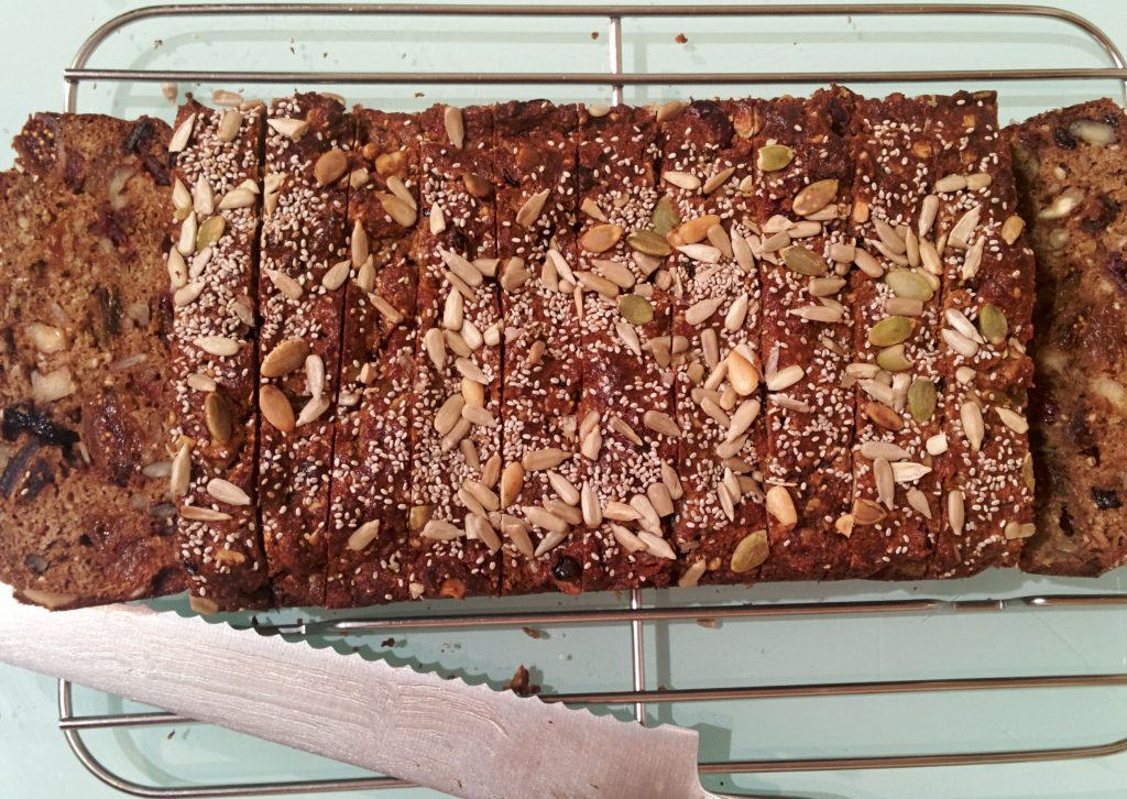 Gluten-free dairy free fruit and nut loaf bread
